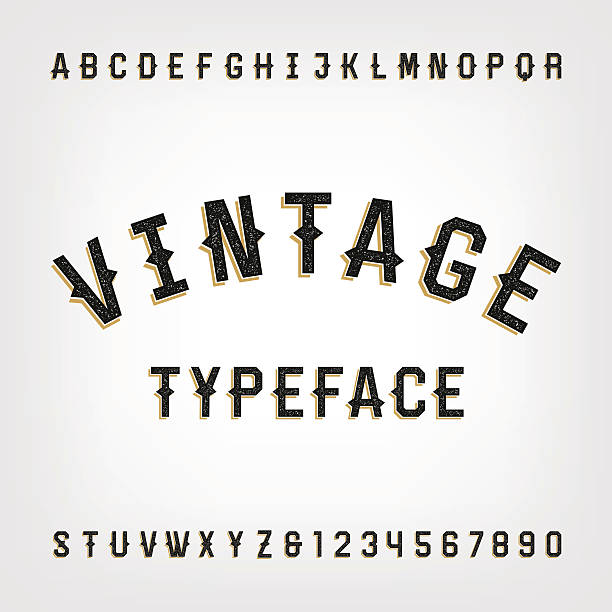 Western style retro distressed alphabet vector font. vector art illustration