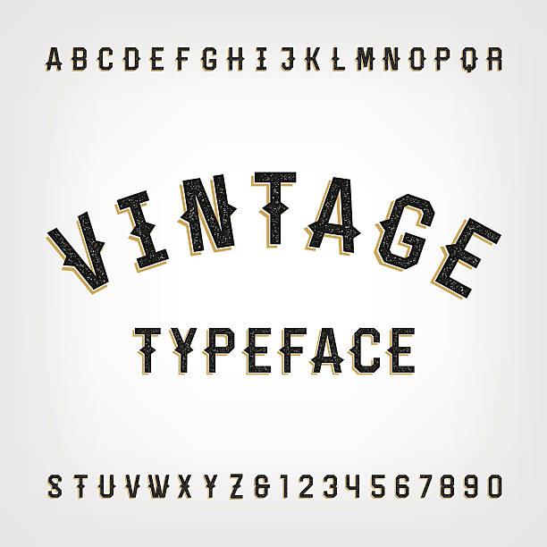 stockillustraties, clipart, cartoons en iconen met western style retro distressed alphabet vector font. - borden en symbolen