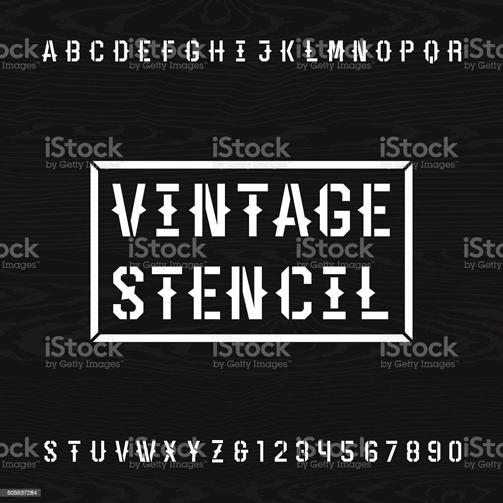 Western style retro stencil alphabet vector font. vector art illustration
