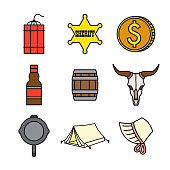 Western Thin Line Icon Set