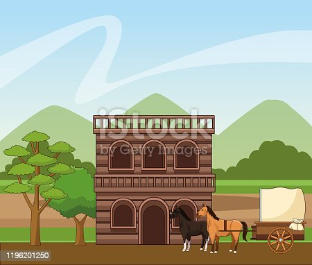 Western town with wooden building and horses carriage over landscape background, colorful design, vector illustration