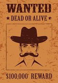 western vector poster, wanted dead or alive,