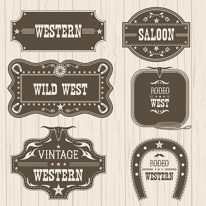 Western vintage labels isolated for design.Vector frames