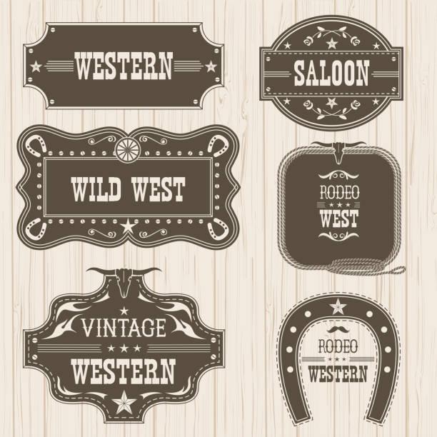 ilustraciones, imágenes clip art, dibujos animados e iconos de stock de etiquetas vintage western aisladas para el diseño. marcos de vector - rodeo