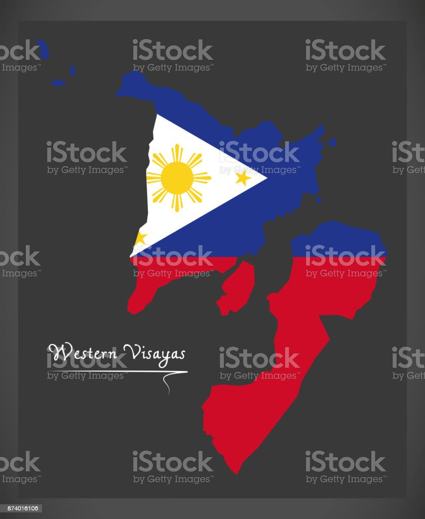 Western Visayas map of the Philippines with Philippine national flag illustration vector art illustration