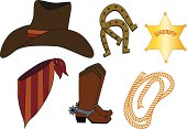 Gradients were used in the Sheriff's badge only of this western accessories file, which includes hat, horseshoes, bandana, cowboy boots, and rope.  Large JPG, thumbnail JPG, and Illustrator 8 EPS are included in zip.