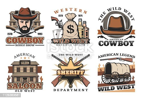 Wild West or western vector icons with cowboy or sheriff. Knives and sack of money, whiskey and revolver, play cards and lasso, saloon and gun, carriage and rifle. American culture and history symbols