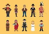 Western Wild West Cute Cartoon Characters Set