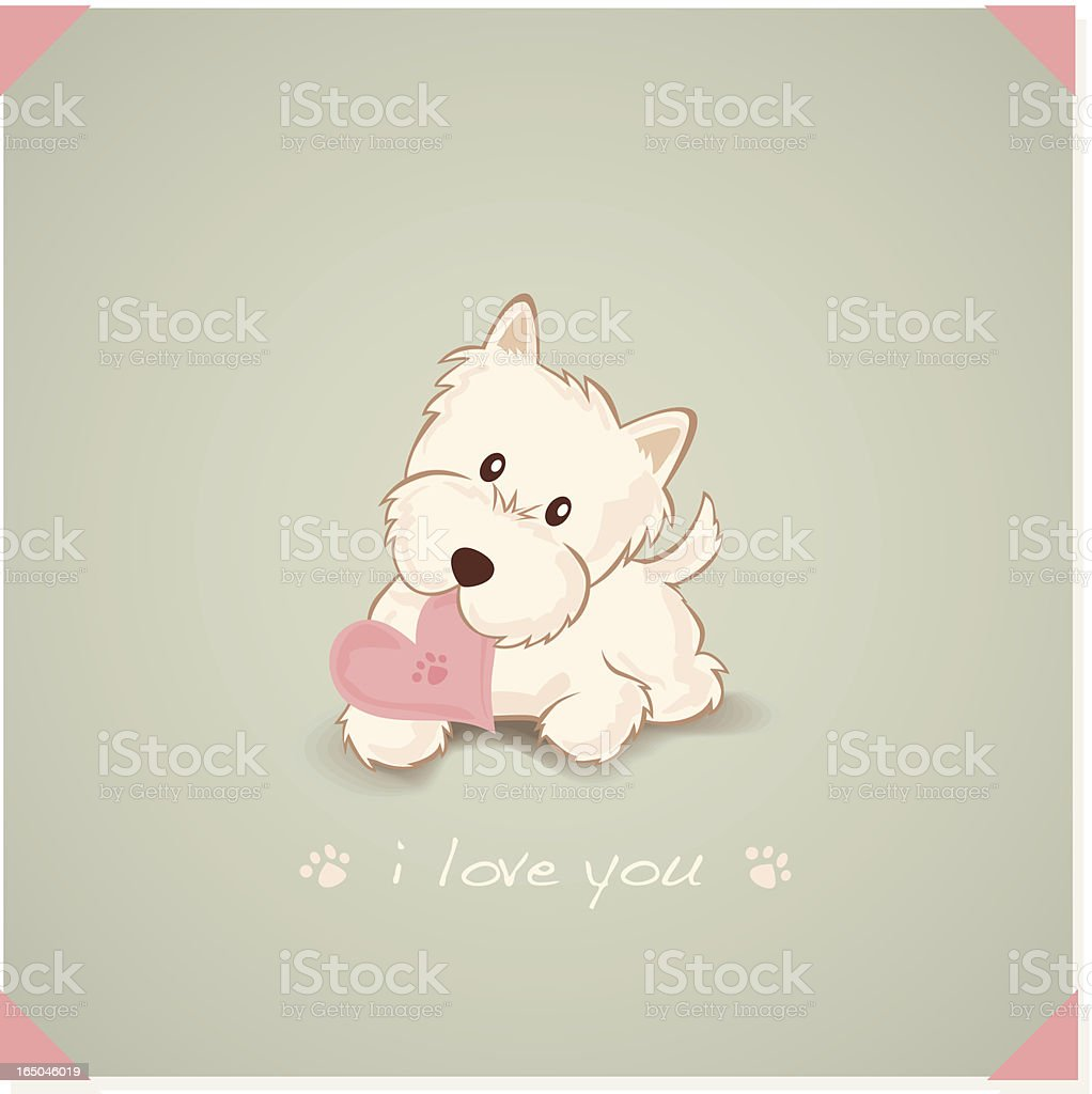 Westie with Heart Shape Message in mouth vector art illustration