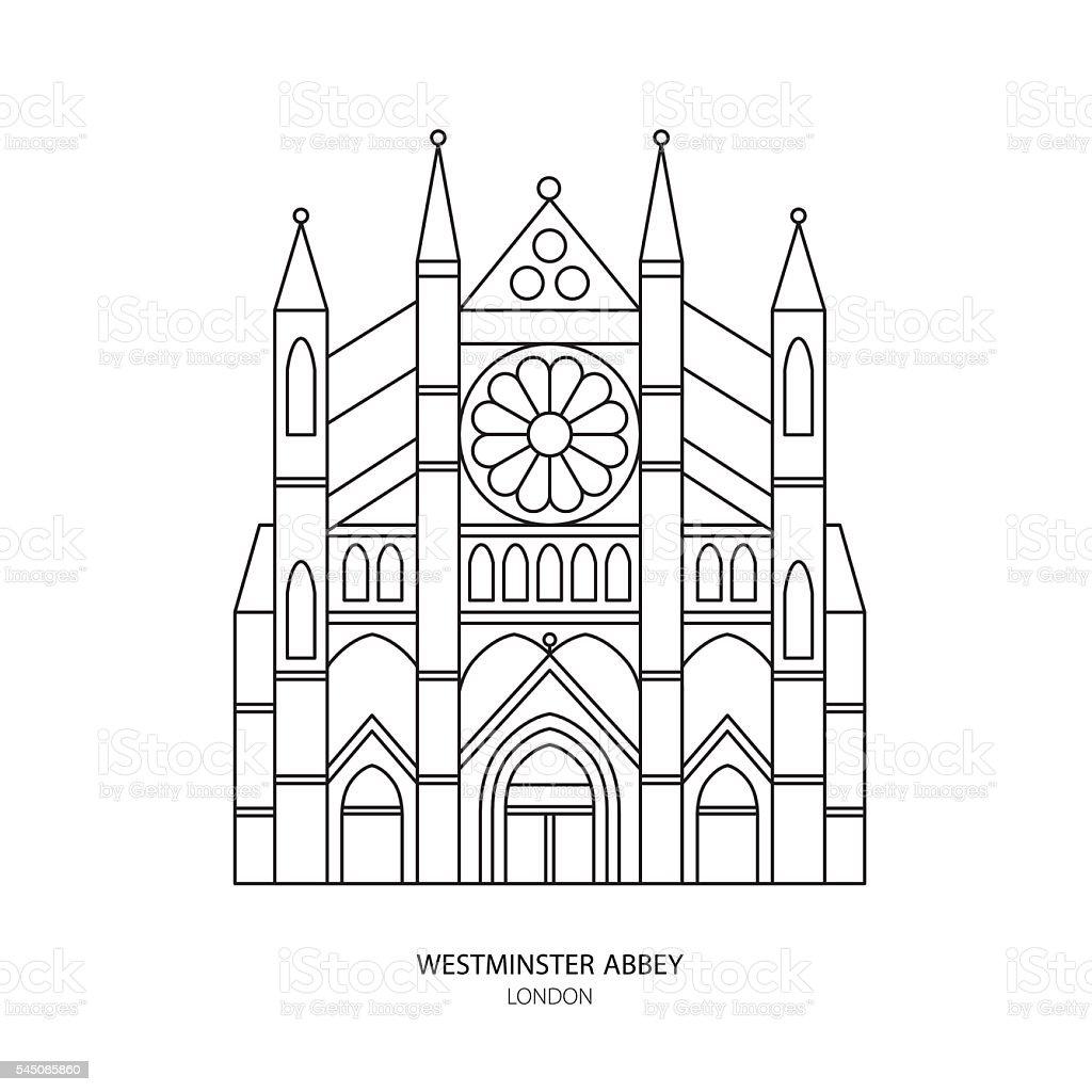 Westminster Abbey, London landmark vector illustration.