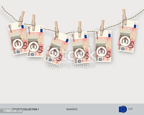 istock Wet 50 Euro banknotes hanging on rope attached with clothes pins. Money laundering concept. Dirty money. Flat style vector illustration. 1268226123