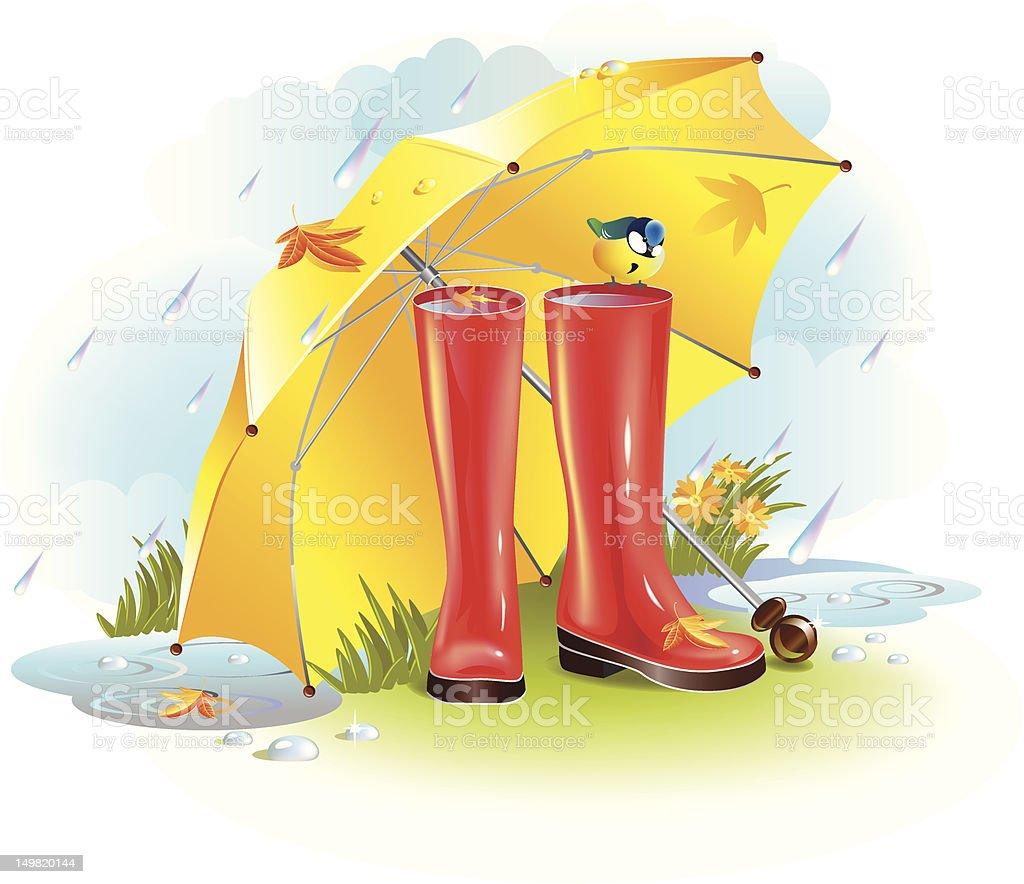 Wet autumn vector art illustration