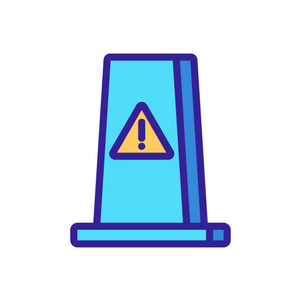 Wet floor caution icon vector. Isolated contour symbol illustration Wet floor caution icon vector. Thin line sign. Isolated contour symbol illustration image stock illustrations