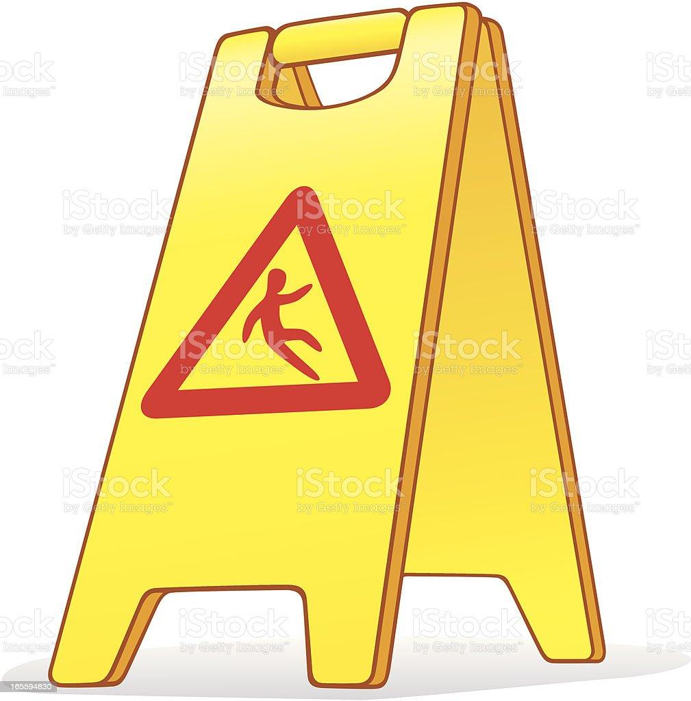 Wet Floor Caution Sign royalty-free stock vector art