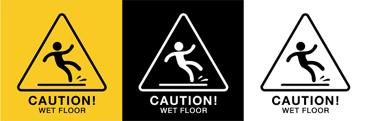 wet floor sign icon vector,3 background colors
