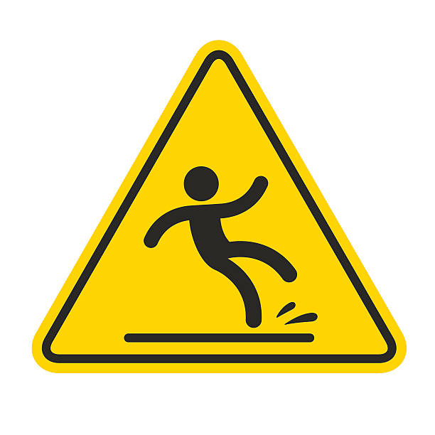 Wet Floor Sign Wet Floor sign, yellow triangle with falling man in modern rounded style. Isolated vector illustration. slippery stock illustrations