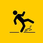 Wet Floor sign, yellow triangle with falling man. Isolated vector illustration.