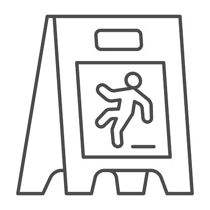 Wet floor thin line icon, Cleaning service concept, caution wet floor standing sign on white background, board with falling man icon in outline style for mobile, web design. Vector graphics.