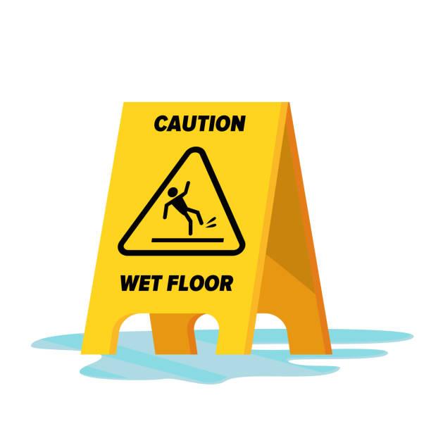 nassen boden vektor. klassische gelbe vorsicht warnschild nassen boden. isolierte flache abbildung - nass stock-grafiken, -clipart, -cartoons und -symbole