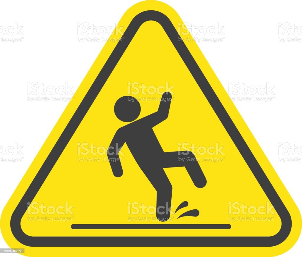Wet floor warning sign. vector art illustration