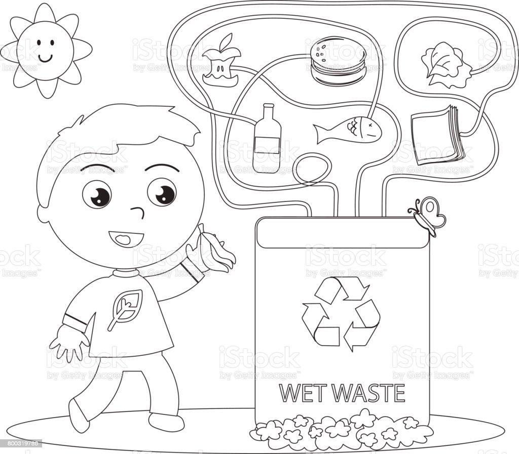 Ilustración De Juego Para Colorear De Reciclaje Residuos Húmedos Y