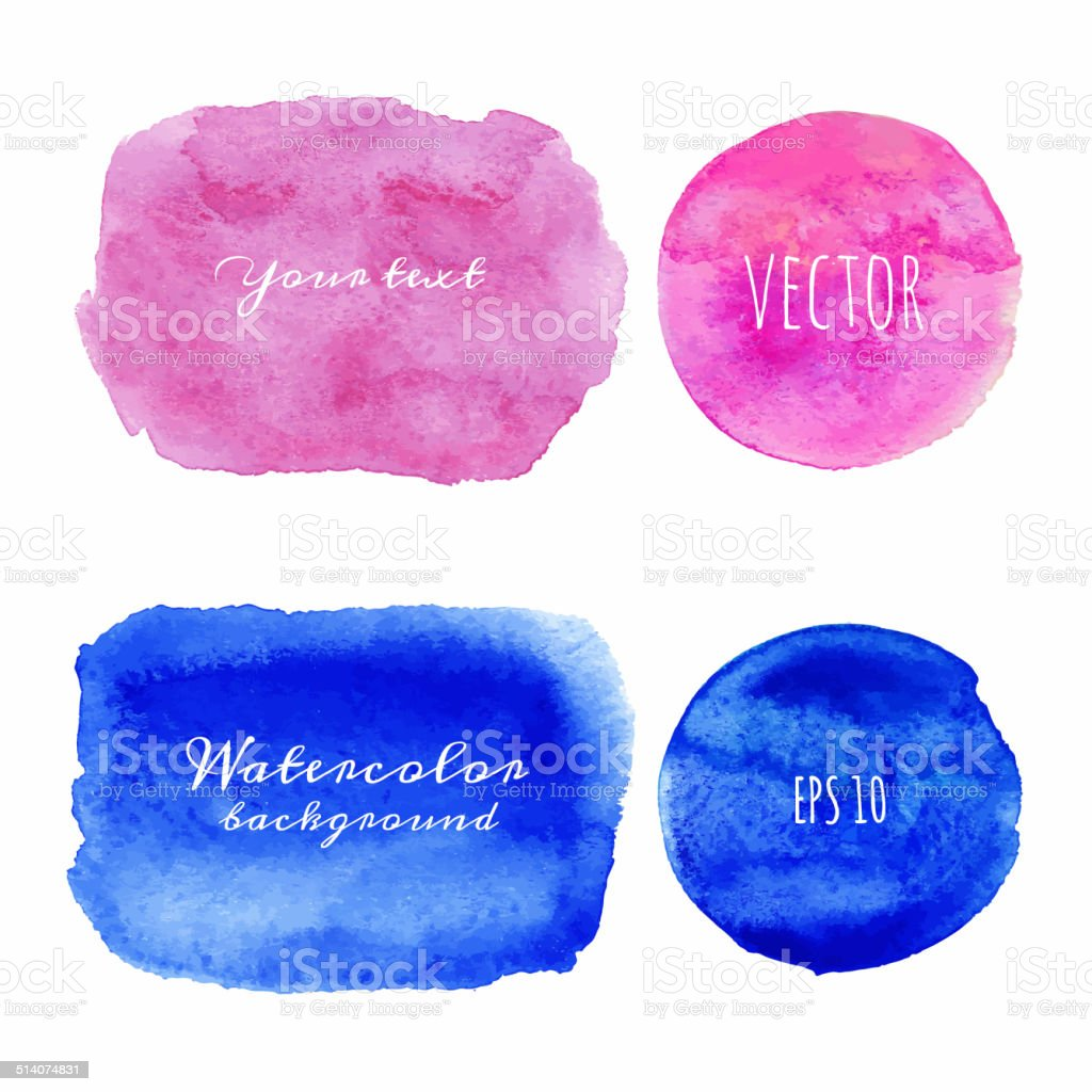 Wet Watercolor Backgrounds. Hand Painted. vector art illustration
