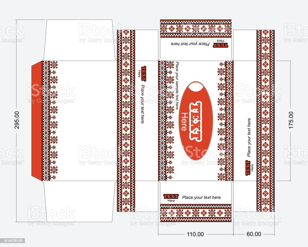 Wet wipes box template with embroidery ornament vector art illustration