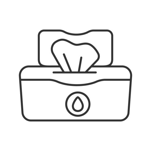 illustrazioni stock, clip art, cartoni animati e icone di tendenza di wet wipes pack icon - salvietta umidificata