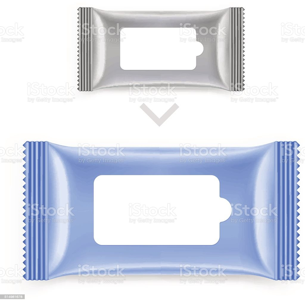 Wet wipes sachet pack with an example of use. vector art illustration