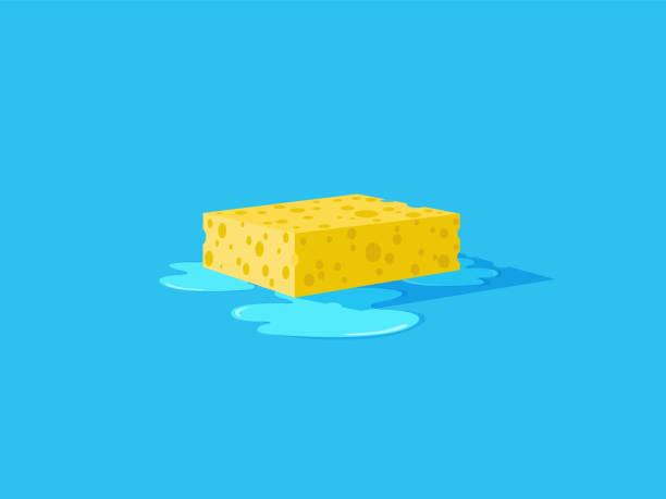 stockillustraties, clipart, cartoons en iconen met natte gele spons op een vloer. - spons
