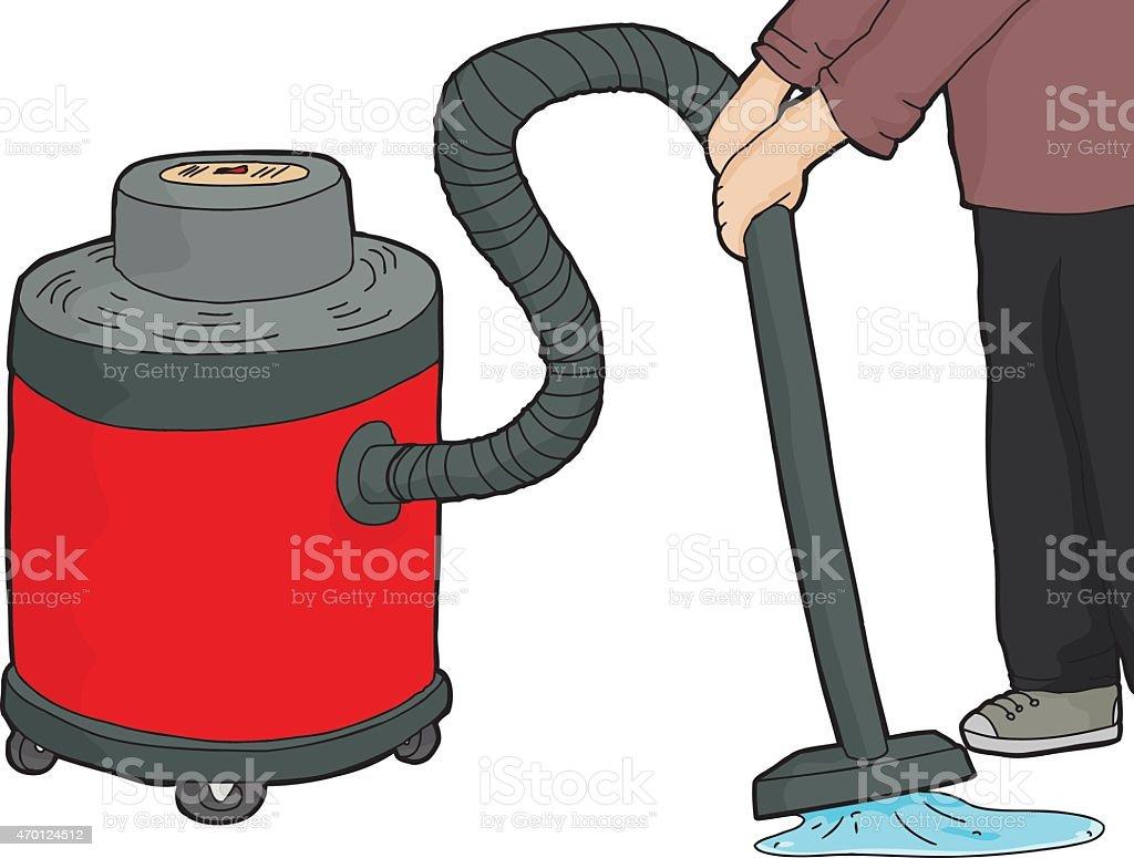Wet-Dry Vacuum Over Water vector art illustration