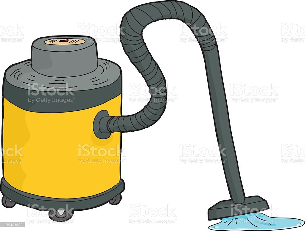 Wet-Dry Vacuum Sucking Water vector art illustration