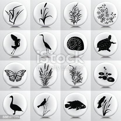 Wetlands Icons With Marsh Plants, Birds, fish On Grey Button
