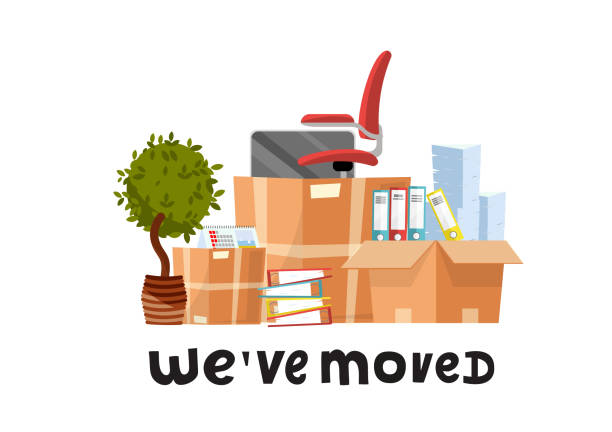 We've moved - hand drawn lettering quote.A lot of open cardboard boxes with office supplies - folders, documents, monitor, red chair on wheels, potted plant.Flat cartoon vector set on white background We've moved - hand drawn lettering quote.A lot of open cardboard boxes with office supplies - folders, documents, monitor, red chair on wheels, potted plant.Flat cartoon vector set on white background. physical activity stock illustrations