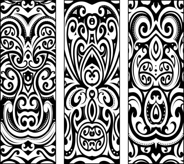 wf_ - maori tattoos stock-grafiken, -clipart, -cartoons und -symbole