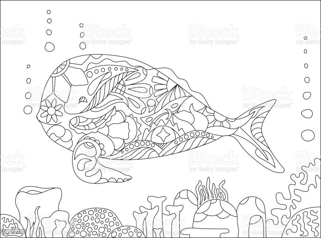 Wal Und Korallen Erwachsenen Färbung Seite Vektorillustration Stock ...