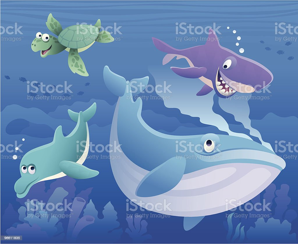 whale and friends - Royalty-free Begrippen en thema's vectorkunst