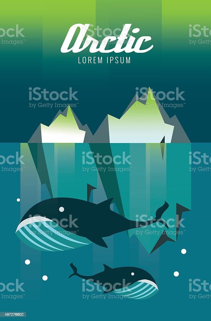 Whale and iceberg. Arctic Aurora nature. vector art illustration