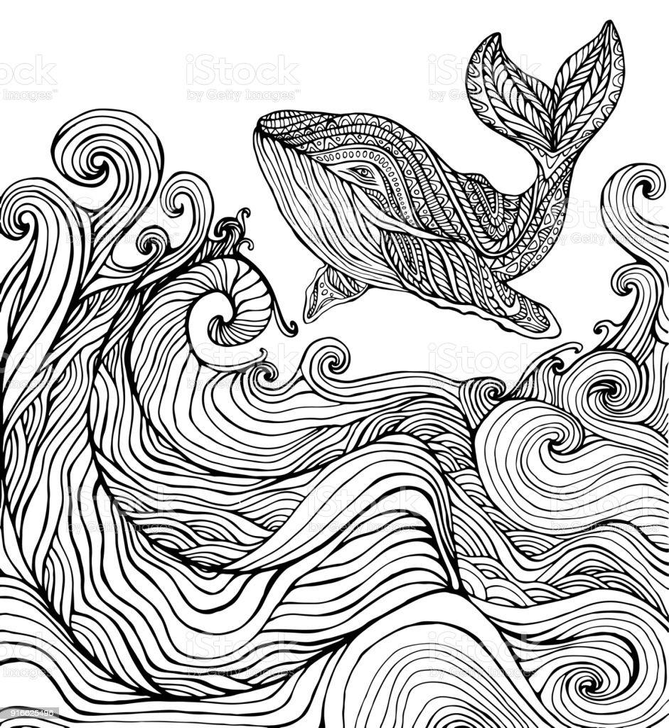 Balina Ve Okyanus Dalgaları Sayfa Boyama Stok Vektör Sanatı