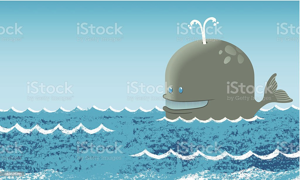 Whale at sea vector art illustration