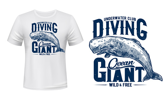 Whale cachalot t-shirt print mockup, diving club