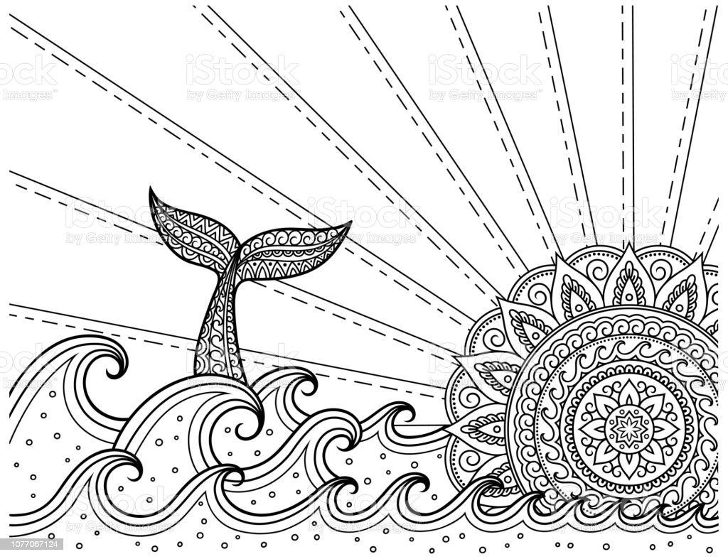 Coloriage Baleine Mandala.Baleines Plongee En Mer Contre Le Coucher Du Soleil Coloriage Livre