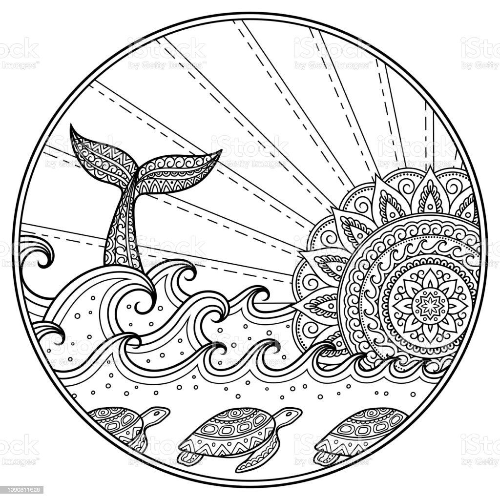 Coloriage Baleine Mandala.Baleines Plongee En Mer Contre Le Coucher Du Soleil Paysage Docean