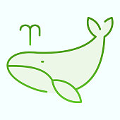 Whale flat icon. Marine blower fish illustration isolated on white. Whale with water fountain blow gradient style design, designed for web and app. Eps 10