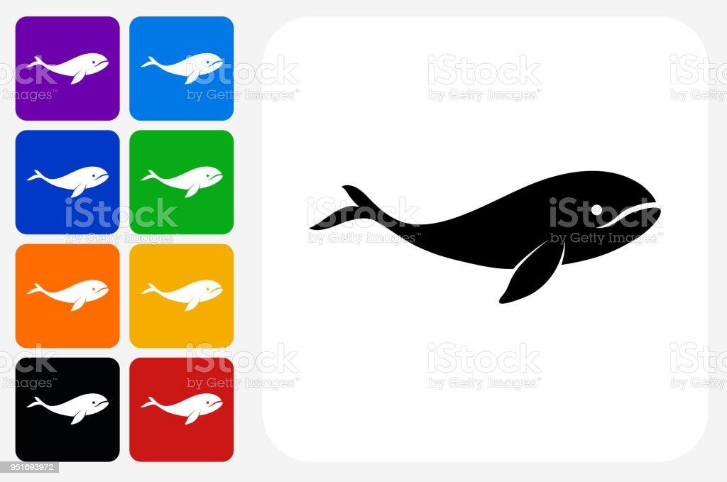 Whale Icon Square Button Set vector art illustration