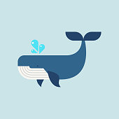 Whale in flat style. Vector illustration