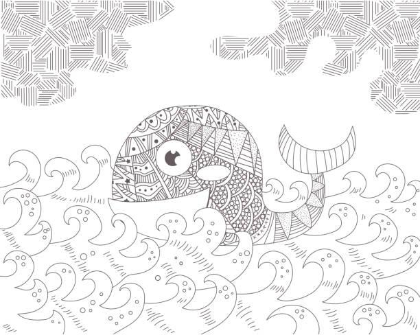 Best Black White Ocean Wave Silhouettes Illustrations