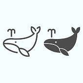 Whale line and solid icon. Marine blower fish illustration isolated on white. Whale with water fountain blow outline style design, designed for web and app. Eps 10