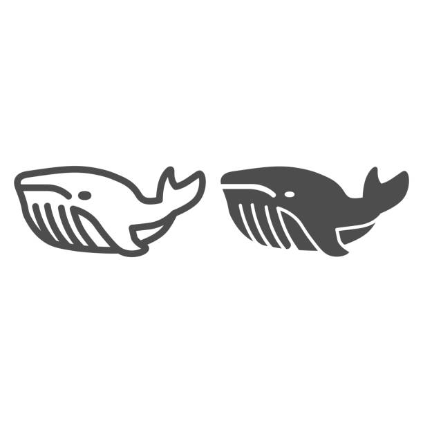 Whale line and solid icon, ocean concept, very large marine mammal sign on white background, orca whale icon in outline style for mobile concept and web design. Vector graphics. Whale line and solid icon, ocean concept, very large marine mammal sign on white background, orca whale icon in outline style for mobile concept and web design. Vector graphics giant fictional character stock illustrations