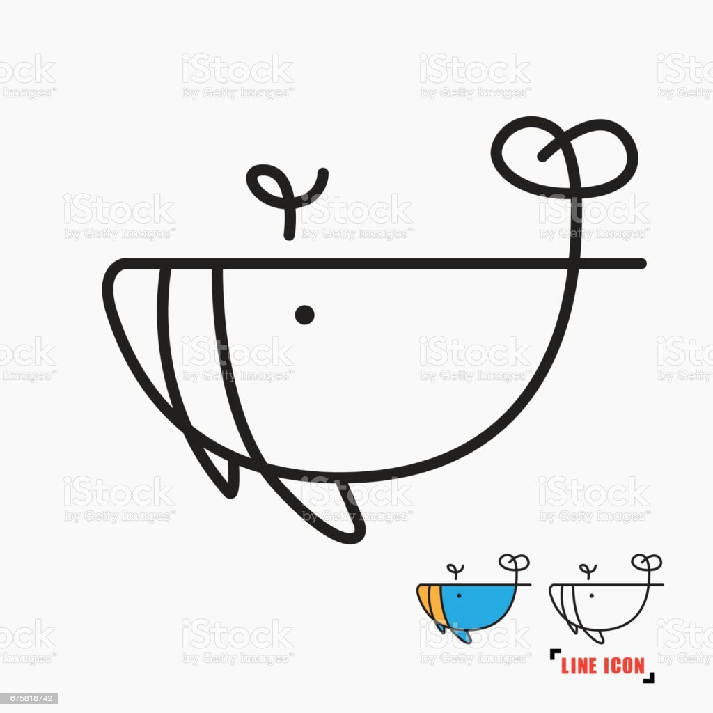 Whale line icon vector art illustration